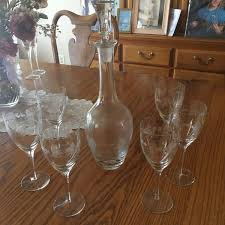 toscany hand blown glass from romania wine decanter and 6 matching glasses