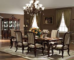 dining room designer furniture exclussive high: astonishing dining room design with elegant and beauty dining room furniture completed with high chairs and brown window curtain also cool chandelier decor