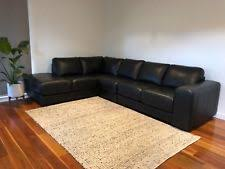 nick scali black leather lounge with chaise