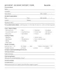 Blank Accident Report Template Blank Accident Report