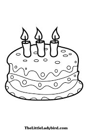Small Picture Coloring Page of a Birthday Cake Coloring Pages
