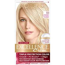 Loreal Paris Excellence Creme Permanent Hair Color 10 Lightest Ultimate Blonde Pack Of 1 100 Gray Coverage Hair Dye