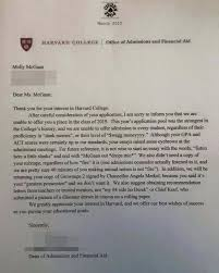 wag moneyyyy harvard college rejection letter is blowing up the  harvard college rejection letter is blowing up the internet