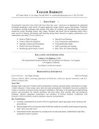 Chef Resume Examples Skills Australia Career Objective For Sous