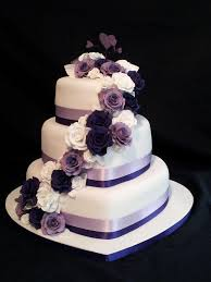 3 Tier Heart Shaped Wedding Cake Roses Cascading Down With A Purple
