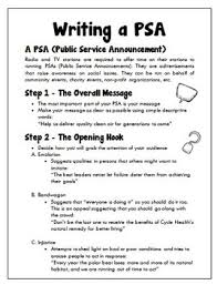 Psa Example English Writing A Public Service Announcement Psa Grades 6 12