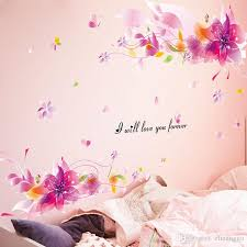 Small Picture Pink Fantasy Flowers Wall Sticker Creative Interior Design Wall