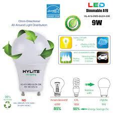 Hylite Eco Lighting Hylite Led Lighting Hl A19 9wd Gu24 30k 60w Incandescent 18w