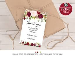 thank you tags for wedding favors wedding favor tag wine bottle swing tag wedding gift tags marsala