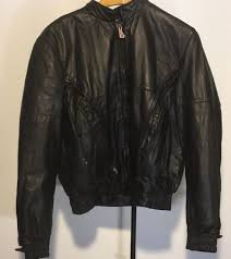 hein gericke mens leather motorcycle jacket with liner size large tall black euc