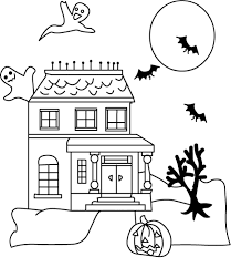 Small Picture Ghost And Haunted House Halloween Coloring Pages Free Hallowen