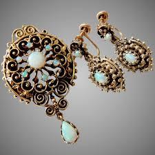 vintage 14k gold opal pendant earrings brooch pendant set to expand