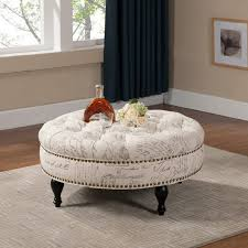 living room ottoman coffee table round simple themes list printable pictures carpet white wooden medium