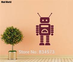 mad world cute robot silhouette nursery kids wall art stickers wall decal home diy decoration on robot nursery wall art with mad world cute robot silhouette nursery kids wall art stickers wall