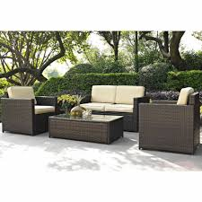 costway outdoor patio 5pc furniture sectional pe wicker rattan sofa set deck couch black brown com