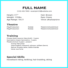 Acting Resume Template Downloadable Acting Resume Template Beginners Free Acting Resume 95