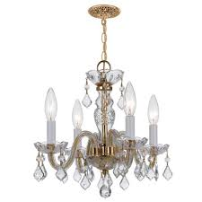 crystorama lighting group traditional polished brass four light chandelier with swarovski strass crystals