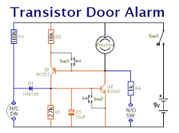 a beginners guide to the complementary latch a schematic diagram of a transistor door alarm that uses a complementary latch