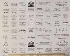 Religious Fabric Panels | eBay & Bible Verses Wise Sayings Quilting Blocks Cotton Fabric Panel - White  D685.01 Adamdwight.com