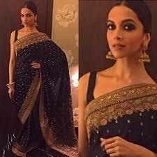 Deepika Padukone Designer Name Deepika Padukone In Black Saree Banarasi Saree Wedding Saree