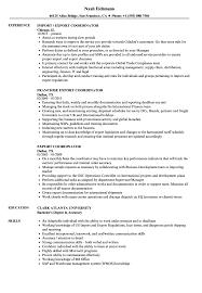 Import Resume Sample Export Coordinator Resume Samples Velvet Jobs 15