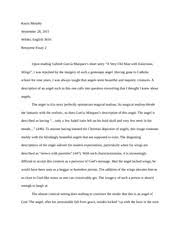 response essay to a very old man enormous wings kayla  response essay to a very old man enormous wings kayla murphy wilder english 3610 response essay 2 upon reading gabriel garca mrquezs short story