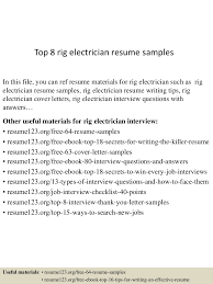 Rig Electrician Resume