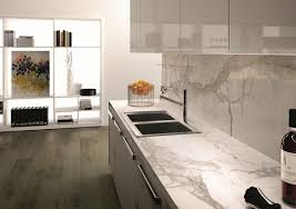 modern kitchen porcelain countertop marble effect white cabinets glossy finish