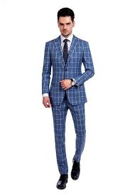 Light Blue Windowpane Suit Blue With White Windowpane Suit With Notch Lapel