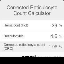 Hemoglobin To Hematocrit Conversion Chart Corrected Reticulocyte Count Calculator Omni