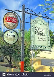 notices advertising olive garden restaurant in lassi kefalonia greece