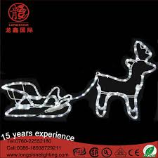 white large outdoor 2d decoration father sleigh motif reindeer light