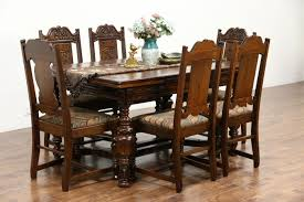 sold tudor antique carved oak dining set table chairs and new upholstery six chair high top kitchen black round room sets with bench white glass circular