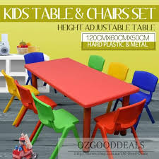 large kids toddler children activity table and 8 chair chairs red 120x60cm l for