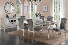 Dinning Room Table Set Silver Finish Dining Room Table Set