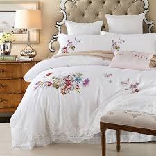 2017 summer queen king 100 cotton bed set lace embroidery bedding set boho style