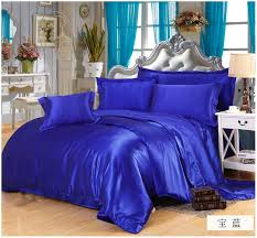 silk royal blue bedding sets satin cal king size queen full twin quilt duvet cover ed bed sheet bedspread sheets custom 6pcs in bedding sets from home