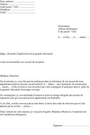 Modele Lettre Demande D Application Garantie Decennale Dommages