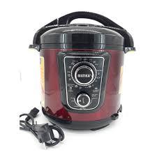 Nồi áp suất điện Matika 6L 1000W có điều chỉnh áp màu đỏ đen MTK - 9262 -  HÀNG CHÍNH HÃNG