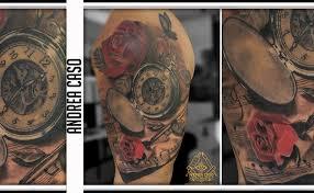 Pentagramma Orologio E Rose Per La Madre Andrea Caso Tattooing