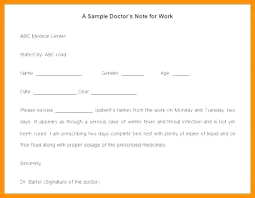 Diagnosis Note Examples Of Doctor Excuse Notes Sullivangroup Co