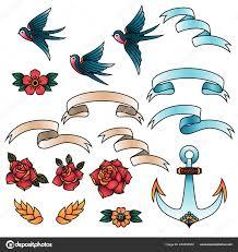 Oldschool Tradiční Tetování Vektoru Elementy Ptáci Květiny Stuhy
