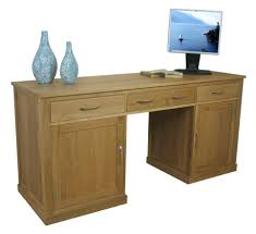picture of mobel oak large hidden office twin pedestal desk aston solid oak hidden