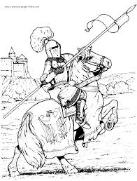 Small Picture Knight in armor on a horse color page fantasy medieval coloring
