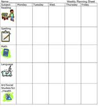 Weekly Planning Sheet Elementary Education Free Lesson