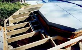 hot tub deck. A Lift Out Hatch, Framed, In Place. Hot Tub Deck