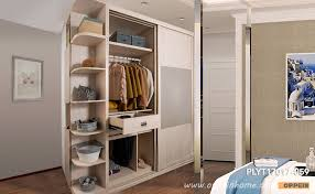 sliding wardrobe with open shelving plyt17017 059