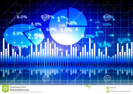 The Stock Market Graph With Pie Chart Stock Illustration