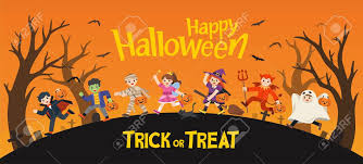 Happy Halloween. Children Dressed In Halloween Fancy Dress To Go Trick Or  Treating. Template For Advertising Brochure. Royalty Free Cliparts,  Vectors, And Stock Illustration. Image 128516065.