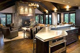 rustic family room rustic family room family room rustic with sloped ceiling kitchen island round chandelier